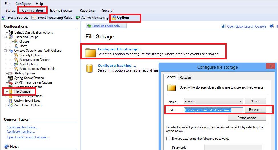 EventsManager file storage